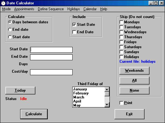 Date Calculator - Calculate days between dates, etc..