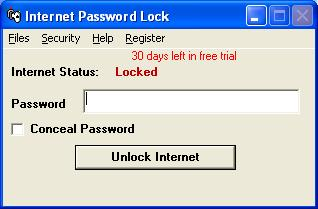 Internet Password Lock Screen shot