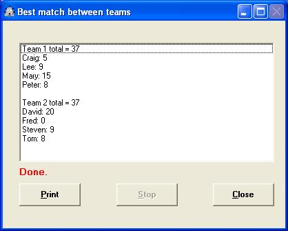 Create closely matched teams or groups